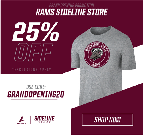 RAMS Sideline Store is now offering 25% off all orders! Use code GRANDOPENING20